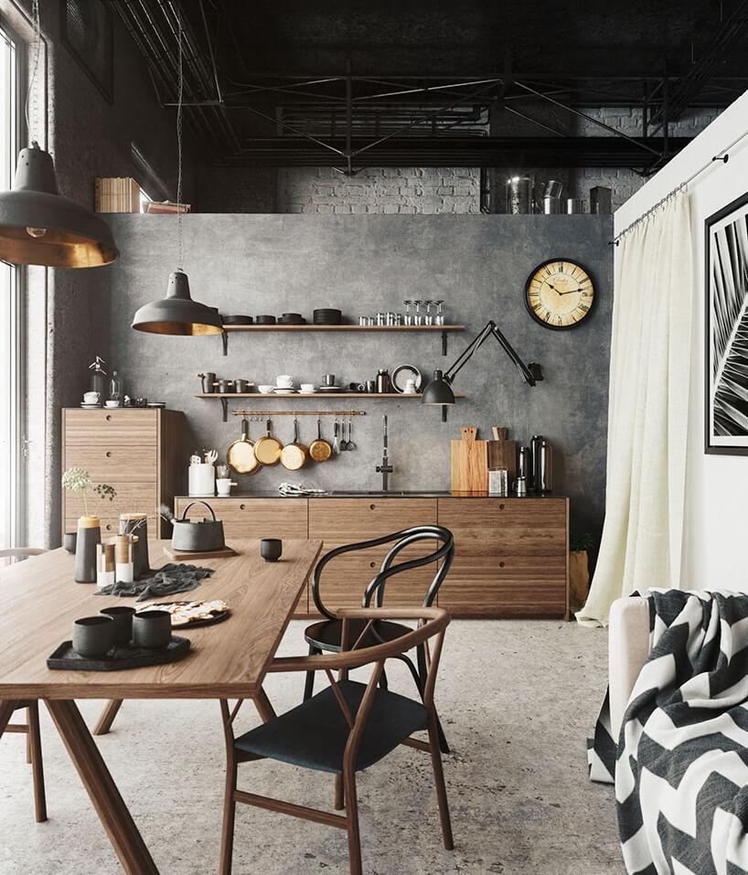styl industrialny loft kuchnia zdrewnianymi meblami na tle szarej ściany