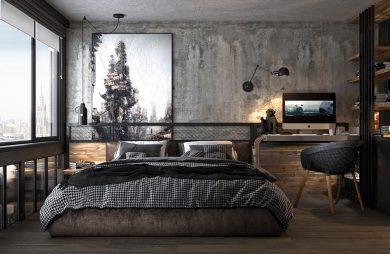 styl industrialny loft sypialna z dużym łóżkiem pośród drewna