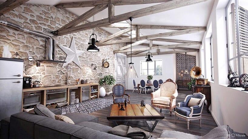 wysokie pomieszczenie salonu zbelkami oraz zdobioną ścianą zdużą gwiazdą