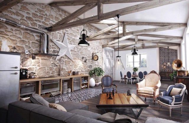 wysokie pomieszczenie salonu z belkami oraz zdobioną ścianą z dużą gwiazdą