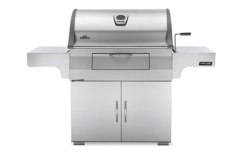 stylowy grill Charcoal Professional ze srebrnej blachy wolnostojący zpokrywą