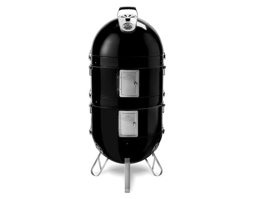 stylowy grill Apollo 300 Charcoal Smoker czarny smukły na trzech nogach