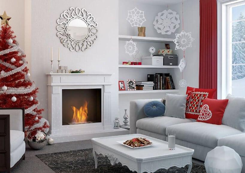 czysto białe wnętrze zczerwonymi dodatkami świątecznymi