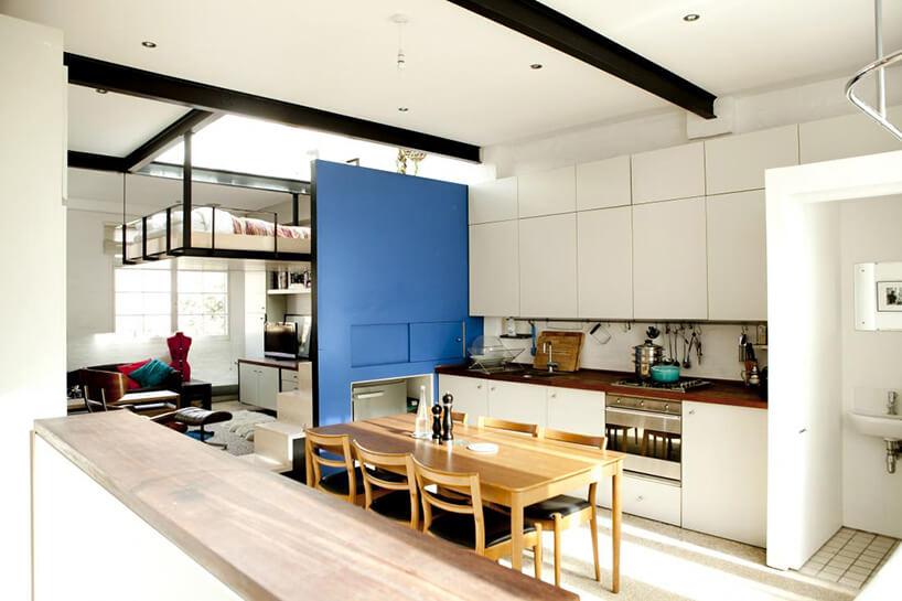 biała kuchnia zniebieską ścianą
