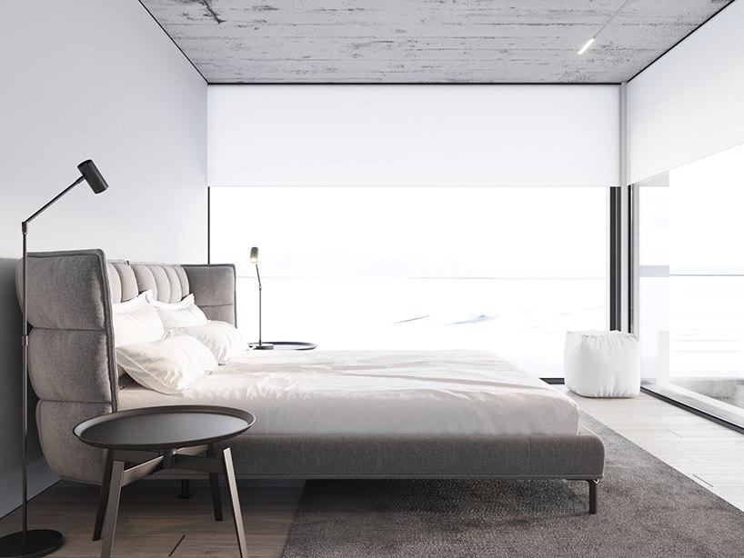 jasna sypialnia zoknami zamiast dwóch ścian