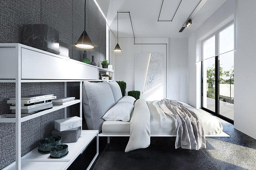 białą sypialnia zdużym łóżkiem idwoma wyjściami na taras