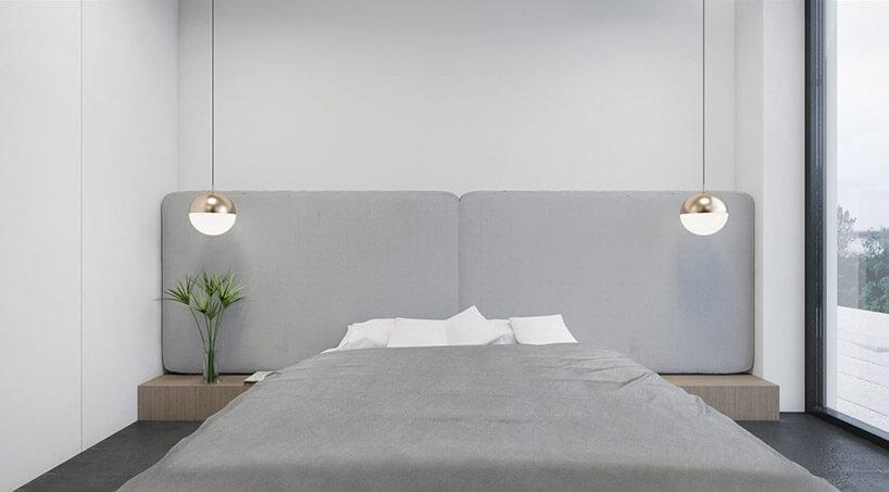 biała sypialnia zszarym zagłówkiem iłóżkiem
