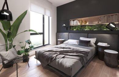 szara sypialnia z dużą liczbą roślin