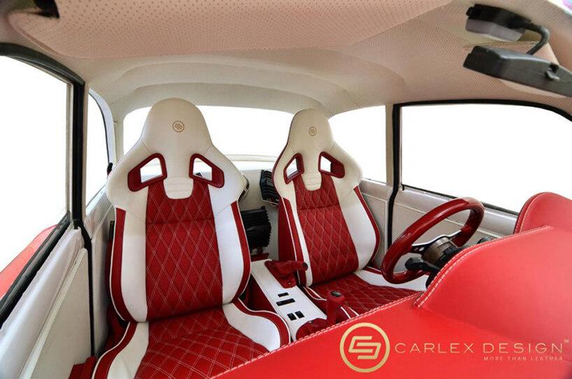czerwone siedzenia syrenki