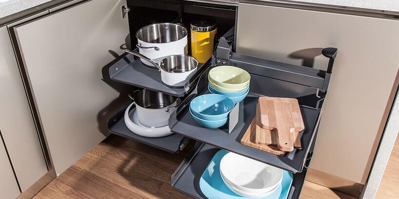 nowoczesny system aranżacji kuchennej szafki narożnej