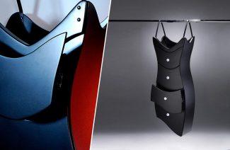 wisząca szafa przypominająca czarną sukienkę
