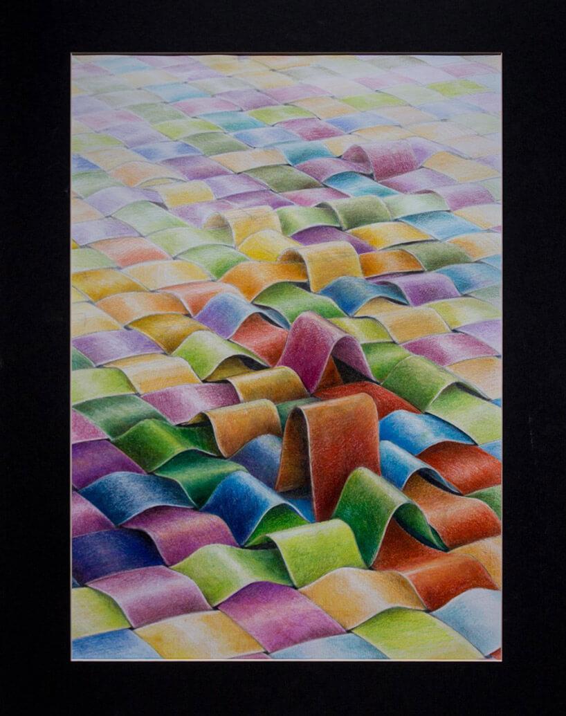 narysowana kredkami plecionka kolorowych pasków