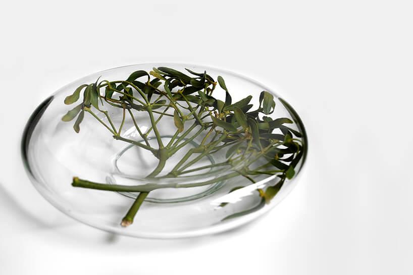 szklana misa udekorowana od środka jemiołą
