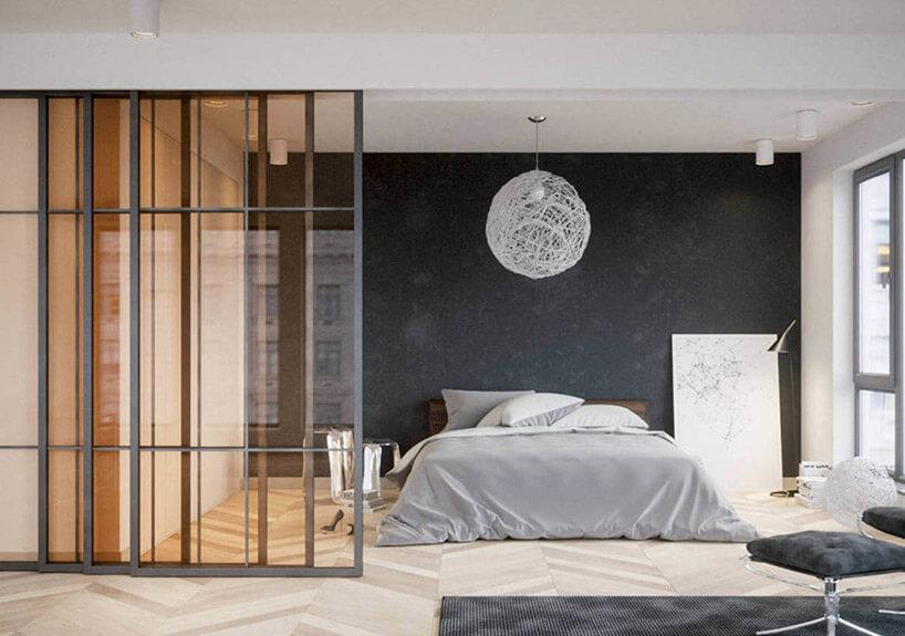 przesuwana szklana ściana działowa jako drzwi do sypialni