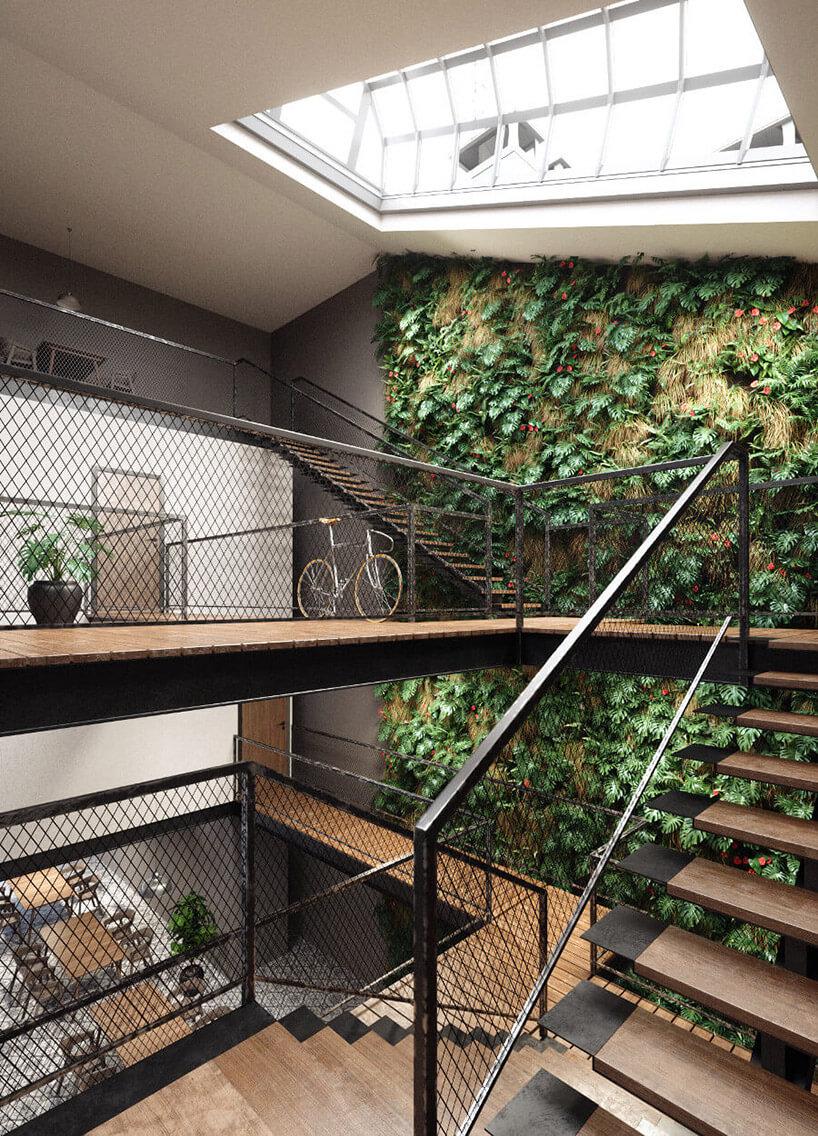 metalowa siatka jako ściana działowa wpiętrowej przestrzeni