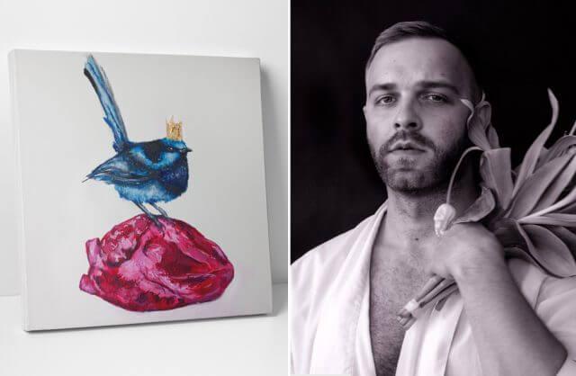 projekt Mateusz Suda obok obrazu niebieskiego ptaka