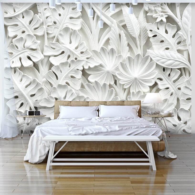fototapety 3d na ścianie sypialni zdużym łóżkiem idrewniana podłogą