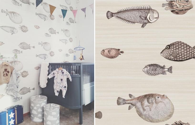 wyjątkowa tapeta do pokoju dziecięcego zróżnymi gatunkami ryb