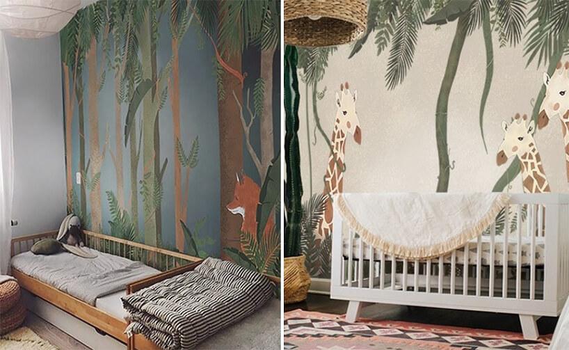 wyjątkowa tapeta do pokoju dziecięcego zmotywem leśnym iafrykańskim