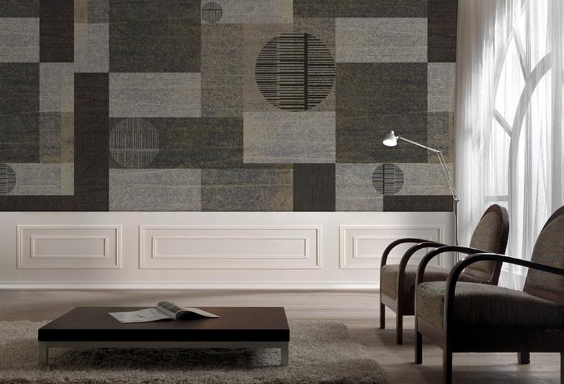 szaro-brązowa tapeta wfigury geometryczne