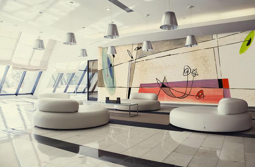 nowoczesne jasne wnętrze tapetą na ścianie