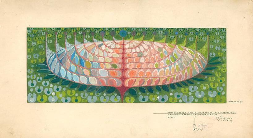 kolorowy szkic na zżółkniętym papierze