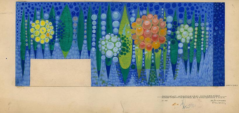 niebieski szkic na zżółkniętym papierze
