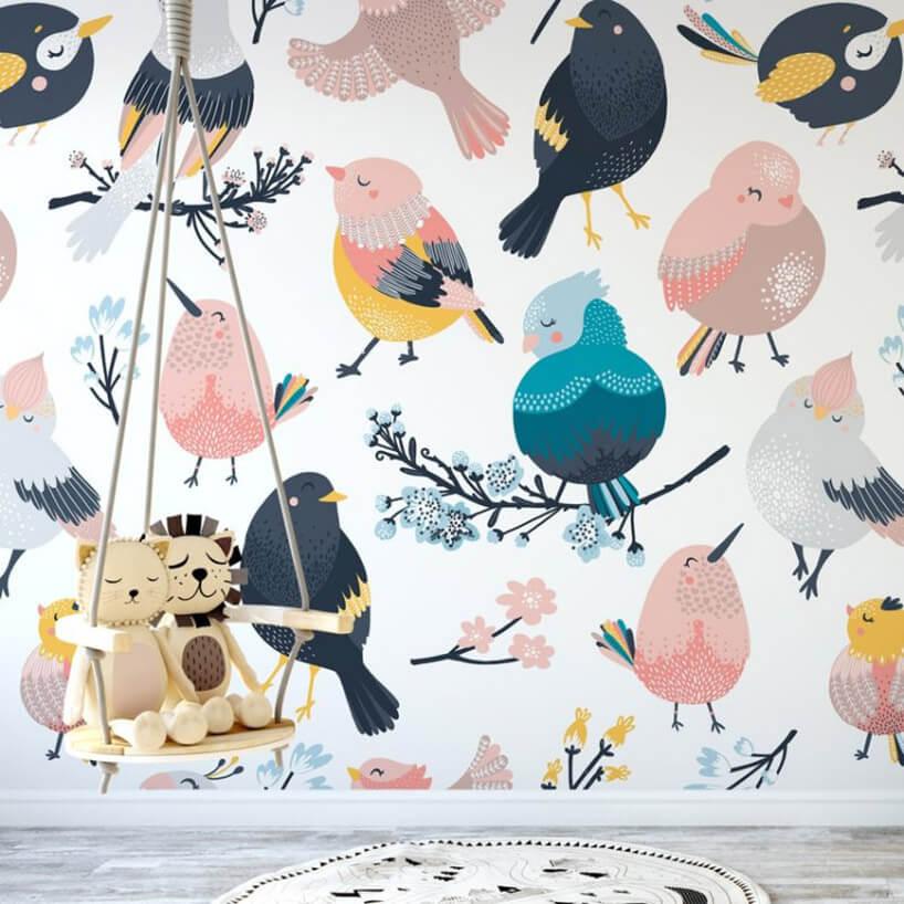 tapeta zmotywem rysowanych ptaków