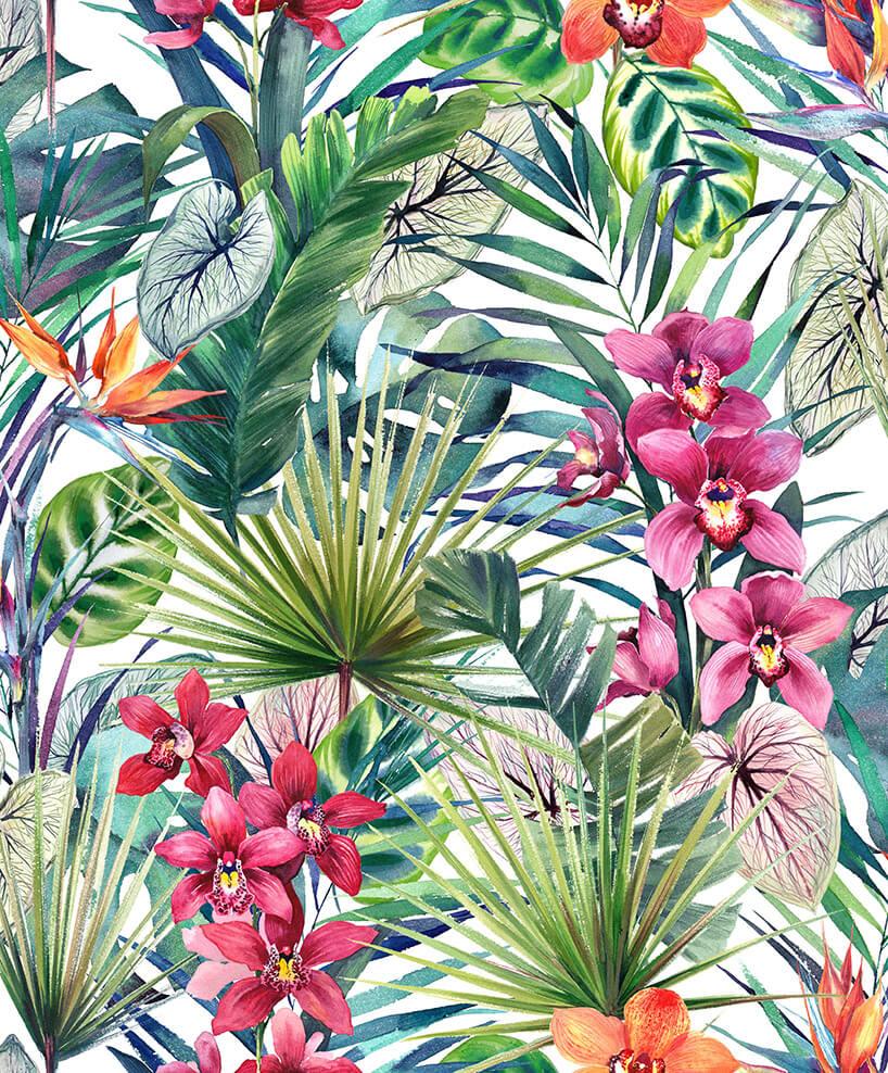 wielokolorowa tapeta zmotywem roślinności tropikalnej