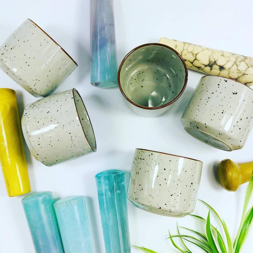 ceramiczne kubki iceramiczne moździerze wróżnych kolorach