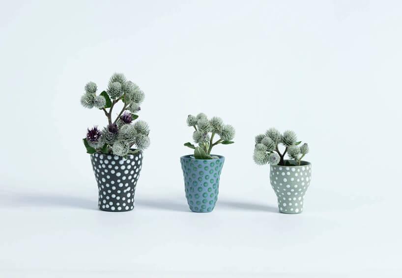 trzy różnokolorowe doniczki wkropki zkwiatkami na seledynowym tle
