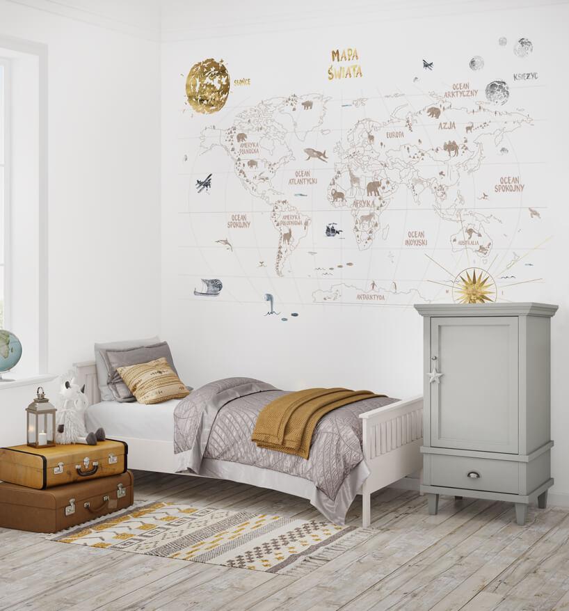 wizualizacja jasnego pokoju dziecięcego ztapetą World Map 3 od Humpty Dumpty Room Decoration