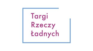 różowo niebieski logtyp Targi Rzeczy Ładnych na białym tle