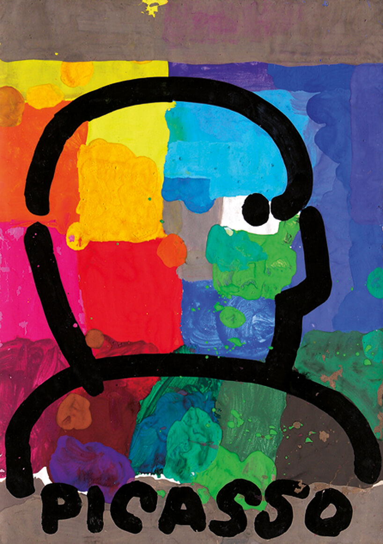 kolorowa grafika zzarysem postaci zpodpisem PICASSO