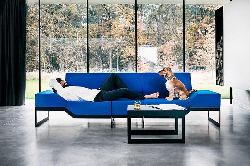 mężczyzna ipies na niebieskiej sofie