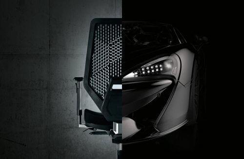 zestawienie tyłu krzesła biurowego i przodu samochodu sportowego