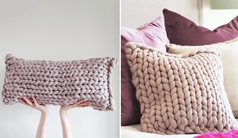 zestawienie poduszek Chunky Knit od Joules jasno różowa ijasno fioletowa poduszka zgrubej włóczki