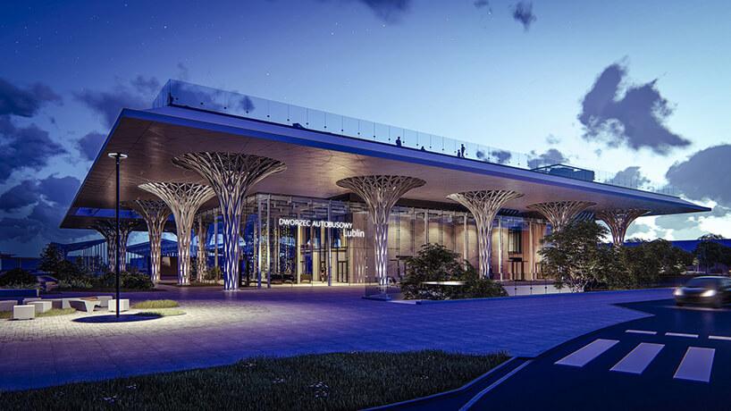 projekt intermodalnego dworca metropolitarnego wLublinie od Tremend widok na wejście nocą