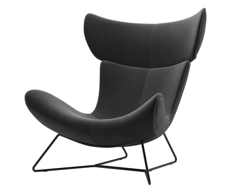 czarny fotel Imola zwygiętym siedziskiem ioparciem