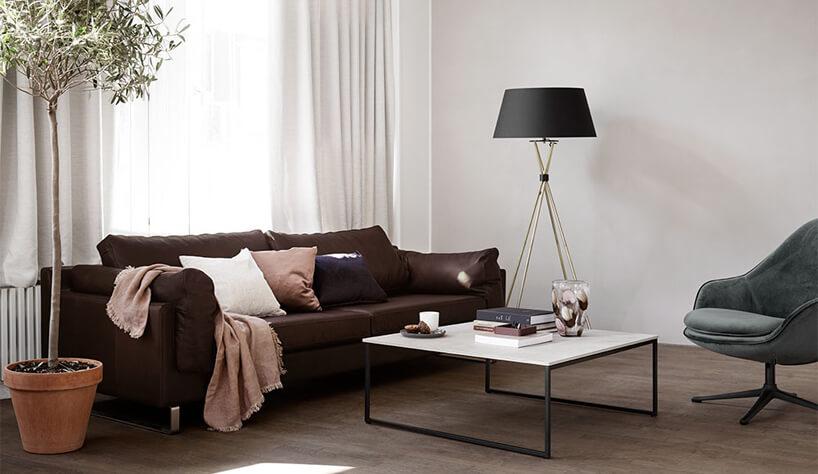 brązowa sofa wbiałym wnętrzu