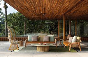 eleganckie meble ogrodowe w fotel z wysokim oparciem fotel z niskim oparciem sofa niski okrągły stolik