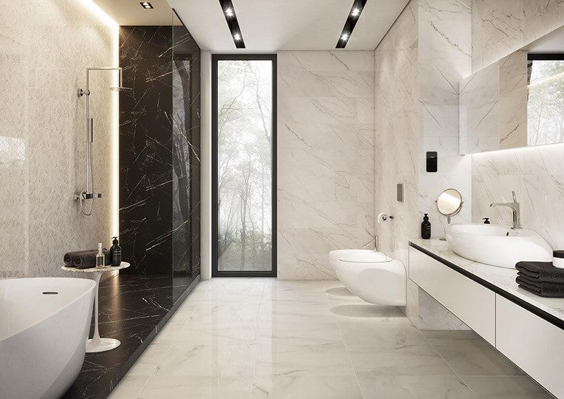 dwu kolorowa przestornna łazienka wpłytkach zkamiennym wzorem