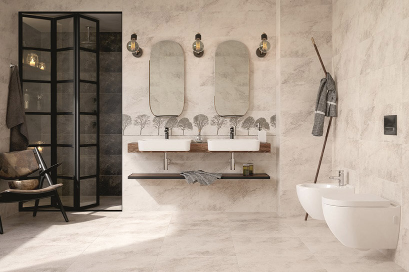 minimalistyczna łazienka wbeżowych płytkach