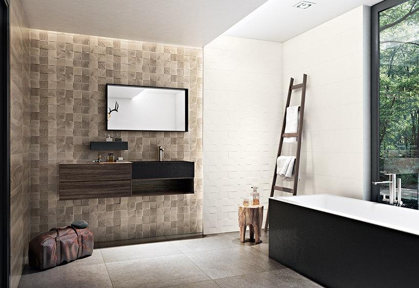 jasnobrązowa łazienka podzielona kafelkami