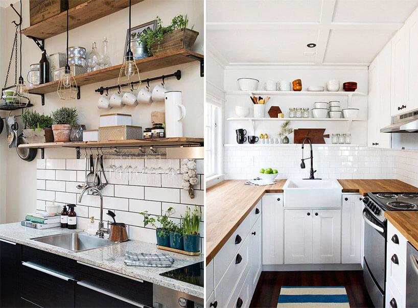biała kuchnia zciemnymi frontami obok zbiałymi