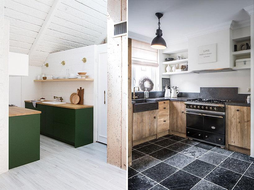 kuchnia zjasną podłogą obok kuchni zciemną