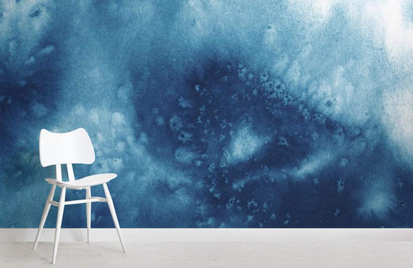 tapeta wniebieskich odcieniach zefektem wody