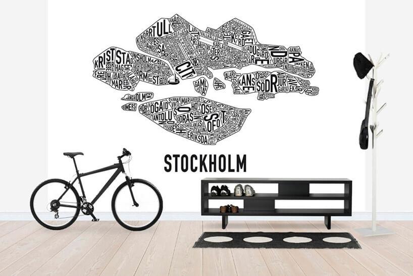 biało-czarna tapeta jako tło dla czarnego roweru