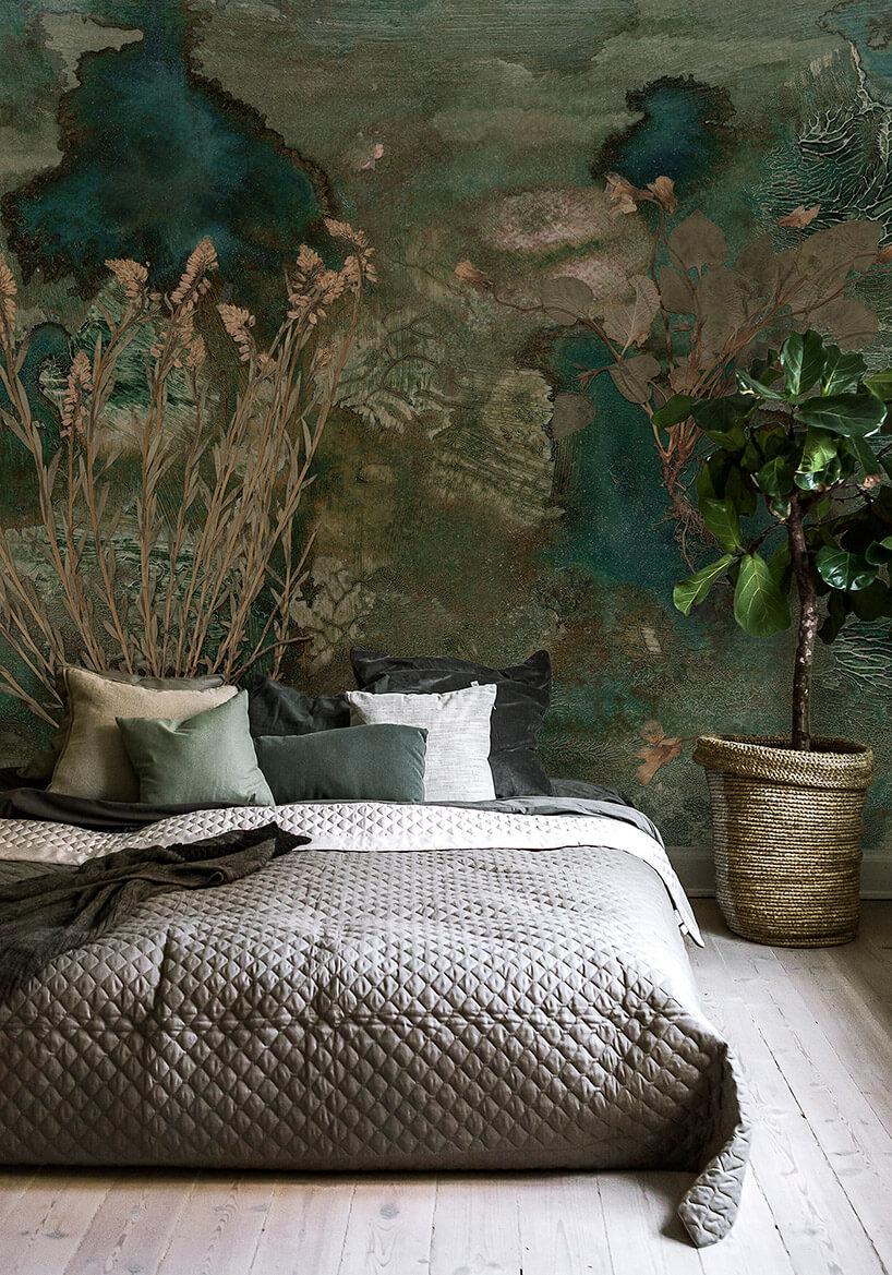 motyw lasu na tapecie wsypialni