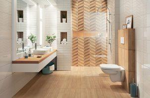 łazienka z żółtą podłogą i ścianą pod prysznicem